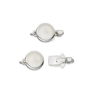 clasp, tab, silver-plated brass, 9x4mm single-sided smooth flat round. sold per pkg of 2.
