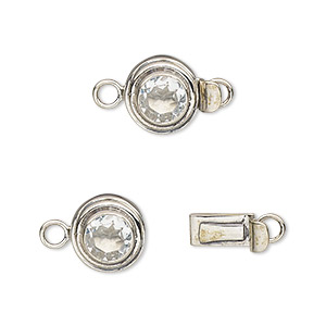 clasp, tab, white topaz (natural) and sterling silver, 11mm round with 5mm faceted round. sold individually.
