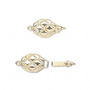 clasp, tab with safety, 14kt gold, 12x9mm double-sided oval with diamond pattern. sold individually.