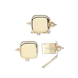 clasp, tab with safety, 14kt gold, 9x9mm smooth square. sold individually.