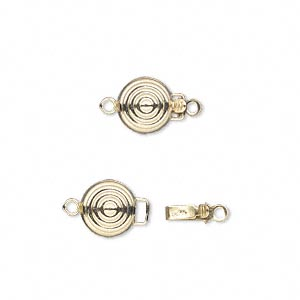 clasp, tab with safety, 14kt gold-filled, 8mm bullseye round. sold individually.