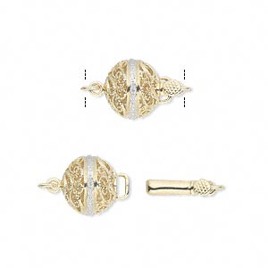 clasp, tab with safety, diamond (natural) and 14kt gold, 10mm filigree round with faceted round. sold individually.