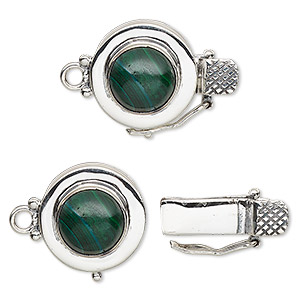 clasp, tab with safety, malachite (natural) and sterling silver, 15mm round with 10mm round cabochon. sold individually.