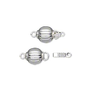 clasp, tab with safety, silver-plated brass, 8mm corrugated round. sold per pkg of 10.