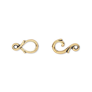 clasp, tierracast, hook-and-eye, antique gold-plated pewter (tin-based alloy), 16x7mm with fancy vine design. sold individually.