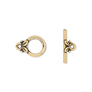 clasp, tierracast, toggle, antique gold-plated pewter (tin-based alloy), 11.5mm round with leaves. sold individually.