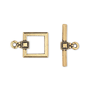 clasp, tierracast, toggle, antique gold-plated pewter (tin-based alloy), 12.5x12.5mm square with small beaded square design. sold individually.