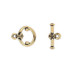 clasp, tierracast, toggle, antique gold-plated pewter (tin-based alloy), 12mm fancy round. sold individually.