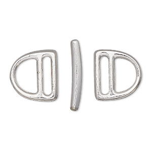clasp, tierracast, toggle, rhodium-plated pewter (tin-based alloy), 15x14mm slotted d-ring, 10x2mm hole. sold per 3-piece set.