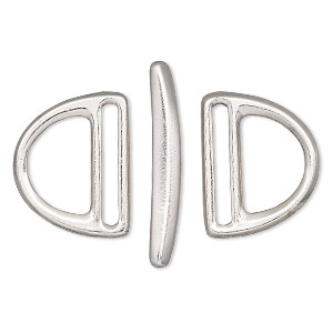clasp, tierracast, toggle, rhodium-plated pewter (tin-based alloy), 24x19mm slotted d-ring, 19.5x2mm hole. sold per 3-piece set.