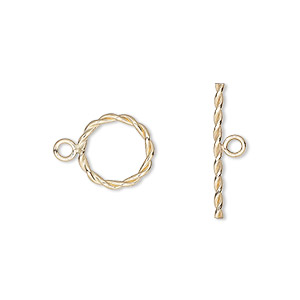clasp, toggle, 12kt gold-filled, 11mm fancy round. sold individually.