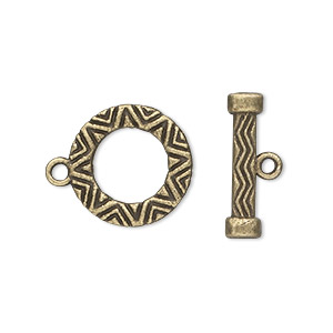 clasp, toggle, antique brass-plated pewter (zinc-based alloy), 16mm round. sold per pkg of 10.