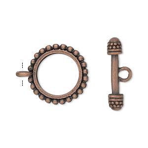 clasp, toggle, antique copper-finished pewter (zinc-based alloy), 18mm double-sided beaded round. sold per pkg of 8.