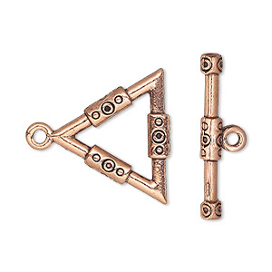 clasp, toggle, antique copper-plated pewter (tin-based alloy), 22x21.5x21mm double-sided triangle with design. sold per pkg of 2.
