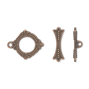 clasp, toggle, antique copper-plated pewter (zinc-based alloy), 15x14mm double-sided round. sold per pkg of 20.