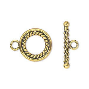 clasp, toggle, antique gold-finished pewter (zinc-based alloy), 16mm double-sided round. sold per pkg of 10.