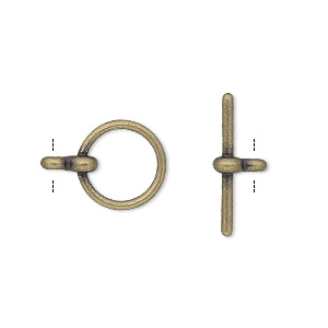 clasp, toggle, antique gold-plated pewter (zinc-based alloy), 12mm smooth round. sold per pkg of 10.