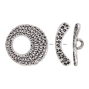 clasp, toggle, antique silver-plated brass, 21mm textured round go-go. sold individually.