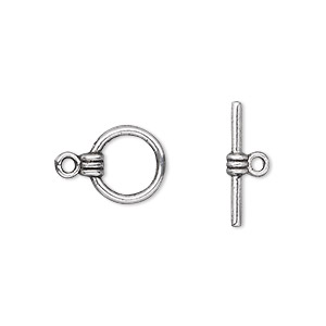 clasp, toggle, antique silver-plated pewter (zinc-based alloy), 10mm double-sided round. sold per pkg of 500.