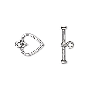 clasp, toggle, antique silver-plated pewter (zinc-based alloy), 12x12mm double-sided heart. sold per pkg of 20.