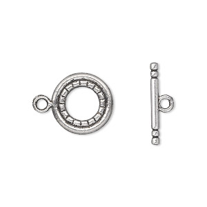 clasp, toggle, antique silver-plated pewter (zinc-based alloy), 13mm double-sided round. sold per pkg of 20.