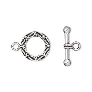 clasp, toggle, antique silver-plated pewter (zinc-based alloy), 14mm double-sided round with sun design. sold per pkg of 20.