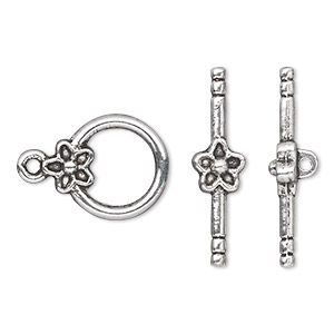 clasp, toggle, antique silver-plated pewter (zinc-based alloy), 14mm single-sided round with flower. sold per pkg of 10.