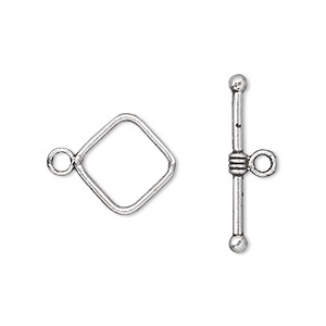 clasp, toggle, antique silver-plated pewter (zinc-based alloy), 14x14mm double-sided diamond. sold per pkg of 500.
