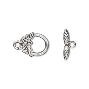 clasp, toggle, antique silver-plated pewter (zinc-based alloy), 15x12mm single-sided flower. sold per pkg of 500.