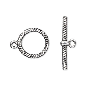 clasp, toggle, antique silver-plated pewter (zinc-based alloy), 16mm double-sided round with rope design. sold per pkg of 20.