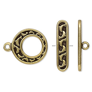 clasp, toggle, antiqued brass-plated pewter (tin-based alloy), 17.5mm go-go with dolphin design. sold individually.