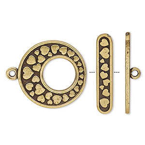 clasp, toggle, antiqued brass-plated pewter (tin-based alloy), 24mm go-go with heart design. sold individually.