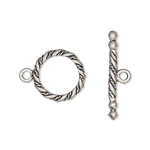 clasp, toggle, antiqued pewter (tin-based alloy), 15mm round with rope design. sold per pkg of 2.