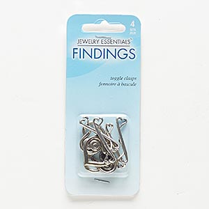 clasp, toggle, antiqued silver-finished pewter (zinc-based alloy), 21x19mm heart. sold per pkg of 4.