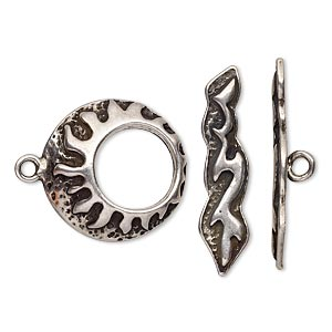 clasp, toggle, antiqued silver-plated pewter (tin-based alloy), 19mm go-go with fireburst design. sold individually.