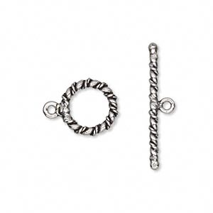 clasp, toggle, antiqued sterling silver, 11.5mm rope round. sold per pkg of 2.