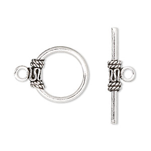 clasp, toggle, antiqued sterling silver, 16mm round with scroll and rope design. sold per pkg of 2.