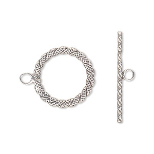 clasp, toggle, antiqued sterling silver, 17mm fancy round. sold individually.