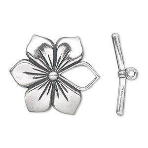 clasp, toggle, antiqued sterling silver, 27x27mm flower. sold individually.