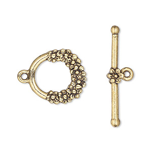 clasp, toggle, copper-plated pewter (tin-based alloy), 13.5mm with scalloped pattern. sold per pkg of 4.