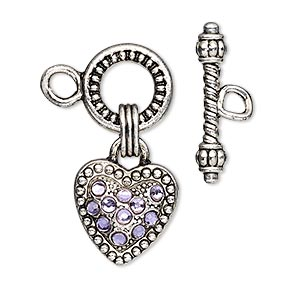 clasp, toggle, glass rhinestone and antique silver-finished pewter (zinc-based alloy), purple, 13mm round with15x15mm heart dangle. sold individually.
