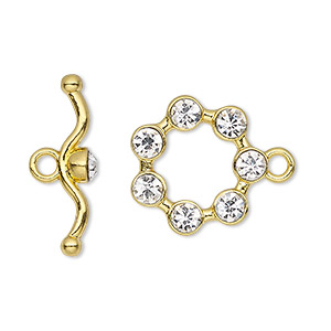 clasp, toggle, glass rhinestone and gold-finished pewter (zinc-based alloy), clear, 19mm round. sold individually.
