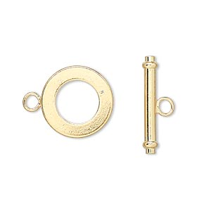 clasp, toggle, gold-finished brass, 15mm smooth round. sold per pkg of 10.