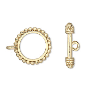 clasp, toggle, gold-finished pewter (zinc-based alloy), 18mm double-sided beaded round. sold per pkg of 8.