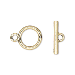 clasp, toggle, gold-plated pewter (tin-based alloy), 14mm round. sold per pkg of 4.