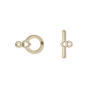 clasp, toggle, gold-plated pewter (zinc-based alloy), 10x9mm round with heart. sold per pkg of 10.