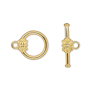 clasp, toggle, gold-plated pewter (zinc-based alloy), 14mm round with flower. sold per pkg of 10.
