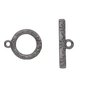 clasp, toggle, gunmetal-finished pewter (zinc-based alloy), 17mm single-sided round with vine and flower design. sold per pkg of 8.