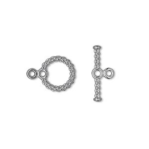 clasp, toggle, gunmetal-plated brass, 10mm textured woven round with loops. sold per pkg of 100.