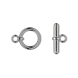clasp, toggle, gunmetal-plated brass, 13mm smooth round. sold per pkg of 100.